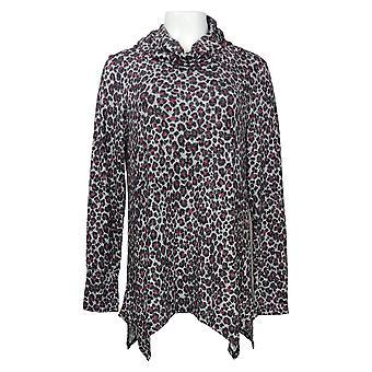 Soft & Cozy Women's Sweater Cowl-Neck Tunic Handkerchief Hem Black 663256