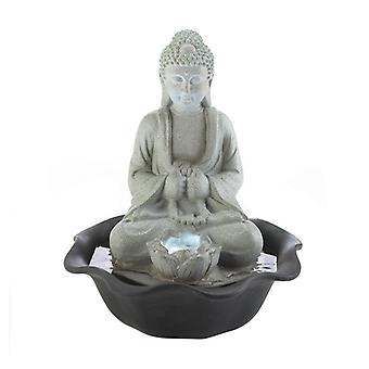 Cascading Fountains Stone-Look Buddha and Lotus Lighted Tabletop Water Fountain, Pack of 1