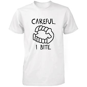 Försiktig jag bita roliga mäns Tshirt vit Crewneck mössan för Halloween rolig skjorta