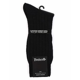 Chaussettes en laine mérinos Pantherella Packington côtes 5 x 1 - noir