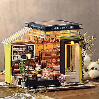 Nový diy dollhouse kit dřevěný malý dům miniaturní budova pro dospělé pečení dort pokoj dětské hračky panenka