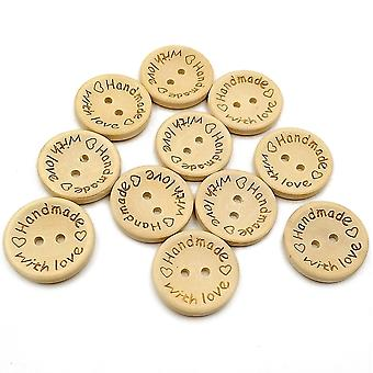Wooden Button, 100pcs Round Love Buckle For Sewing And Making Decorative Crafts, Wood Color