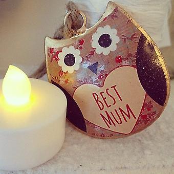Sass & Belle Florence Mini Best Mum Hanging Owl