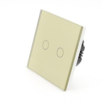 I LumoS Gold Glass 2 Gang 1 Way Touch LED Light Switch