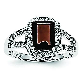 925 Sterling Silver Rhodium Emerald-cut Smokey Quartz and Diamond Ring - Ring Size: 6 to 8