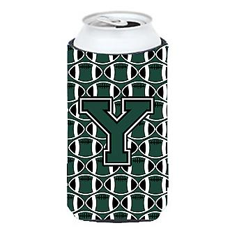 Letter Y Football Green and White Tall Boy Beverage Insulator Hugger