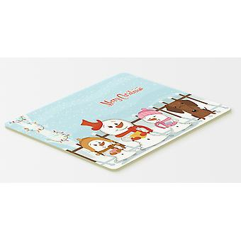 Merry Christmas Carolers Dachshund Red Brown Kitchen or Bath Mat 20x30