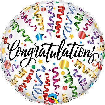 Qualatex 18 Inch Round Congratulations Streamers Foil Balloon