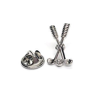 Mazze da golf & palla peltro Lapel Pin Badge