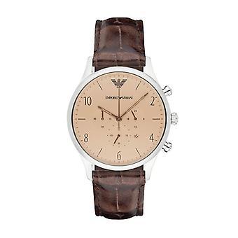 Emporio Armani Mens heren chronograaf horloge bruin lederen riem bruin Dial AR1878