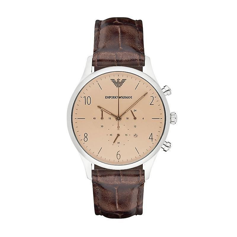 Emporio Armani Mens Gents chronographe montre cuir marron bracelet cadran brun AR1878