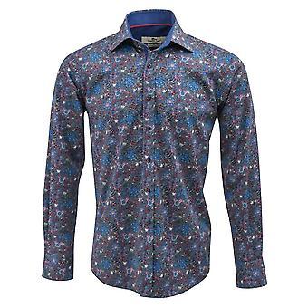 Claudio Lugli Blue Floral impressão Mens camisa