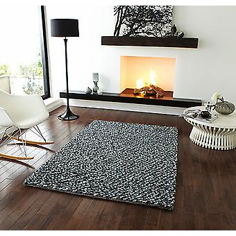 Pebbles Grey Mix of grey and black knots Rectangle Rugs Plain/Nearly Plain Rugs