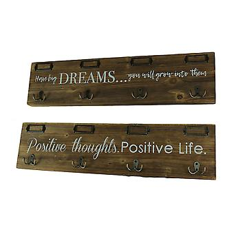 Stenciled Dreams and Positive Life Wood Wall Sign With Hooks