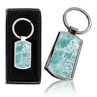 i-Tronixs - Premium Marble Design Chrome Metal Keyring with Free Gift Box (2-Pack) - 0002