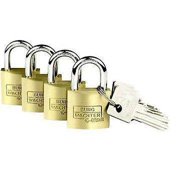 Burg Wächter 4er Set Set Quadro 222 30 SB Padlock Brass Key