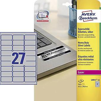 Avery-Zweckform L6011-20 Labels 63,5 x 29.6 mm Polyester film Silver 540 PC('s) permanente naamplaatjes Laser, Copier