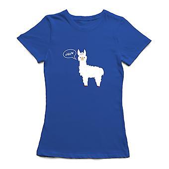 Camiseta para mujeres de diseño gráfico de llama Miau