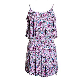 Chiffon de tiras de senhoras adaptados Playsuit Floral Zip volta estiramento cintura feminino