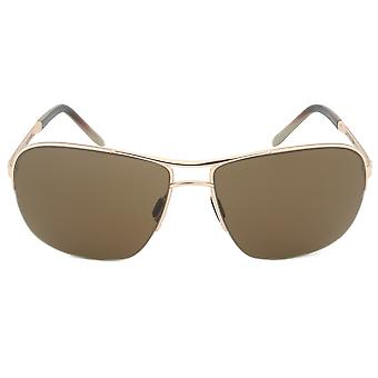 Porsche Design Design P8545 C Rectangular Sunglasses | Gold Frame | Brown Lens