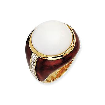 14k Gold Plated 925 Sterling Silver Enamel Brn Enam Simulated Wht Agate and Cubic Zirconia Ring Jewelry Gifts for Women