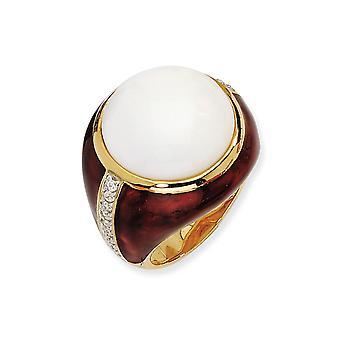 14k Vergulde 925 Sterling Zilveren Email Brn Enam GesimuleerdWht Agate en Cubic Zirconia Ring Sieraden Geschenken voor vrouwen