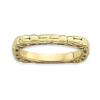 2.25mm 925 sterling sølv mønstret stables uttrykk polert 14k gull platedsquare ring smykker gaver til kvinner -