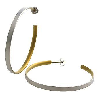 Ti2 Titanium Large Hoop Earrings - Tan Beige