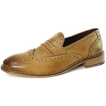 London Brogues Carson Mens Slip On Brogue Loafer Shoes  AND COLOURS