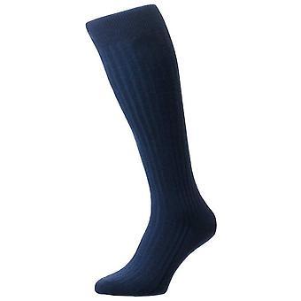 Pantherella Laburnum Merino Wool Over the Calf Socks - Dark Blue