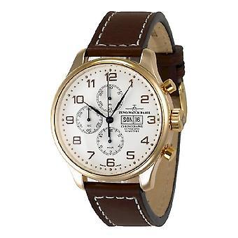 Zeno-horloge mens kijken OS retro chronograaf-datum 18 ct rood goud 8557TVDD-RG-f2