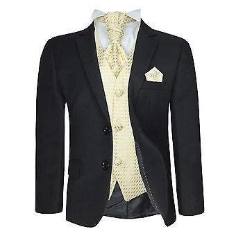 5 pc jongens zwart / goud formele bruiloft Cravat pak Pageboy Prom pak