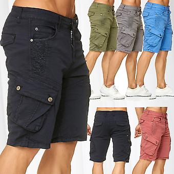 Men's Bermuda Cargo Chino Shorts Stretch Jeans Short Capri Pants Summer Vintage