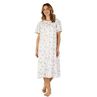 Slenderella ND3108 kobiet bawełniana Koszula nocna z suknia Gama Piżam noc fioletowy liliowy