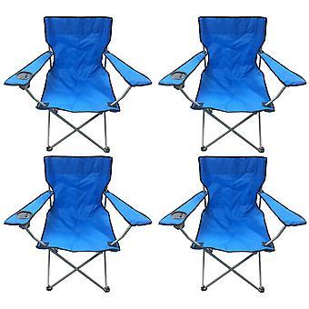 4 blå & sort Lightweight sammenfoldelig Camping stranden kaptajner stole