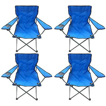 4 Blue & Black Lightweight Folding Camping Beach Captains Chairs
