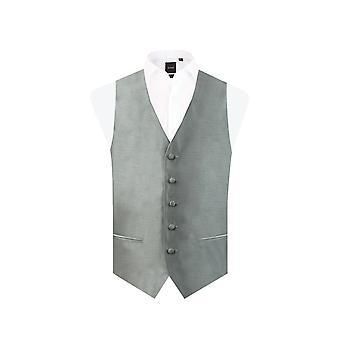 Dobell Mens Silber Weste passen regelmäßige Dupionseide 5 Button