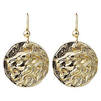 Gemshine örhängen mynt örhängen LÖWE lejon i 925 silver, guldpläterad eller ros