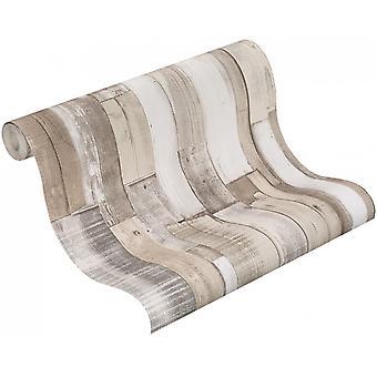 Embossed Wood Panel Effect Textured Wallpaper Wooden Rustic Industrial Beige