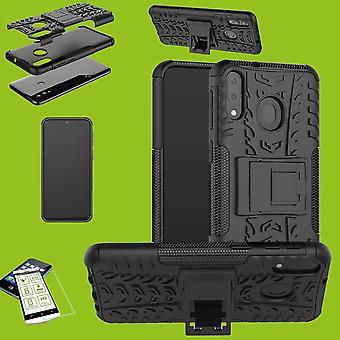 Für Samsung Galaxy A50 6.4 Zoll Hybrid Case 2teilig Schwarz + Hartglas Tasche Hülle Cover Hülle