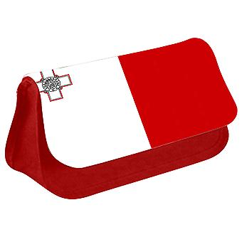 Malta Flag Printed Design Pencil Case for Stationary/Cosmetic - 0108 (Red) by i-Tronixs