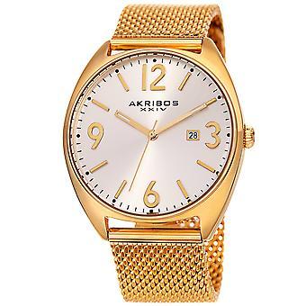 Akribos XXIV quarzo Sunray quadrante mesh braccialetto orologio AK1026YG