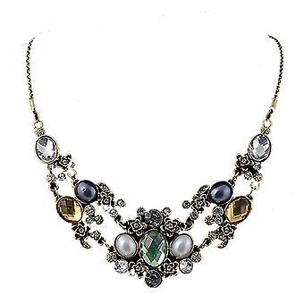 Ladies colourful chunky style jewel statement swarovski crystal bib necklace