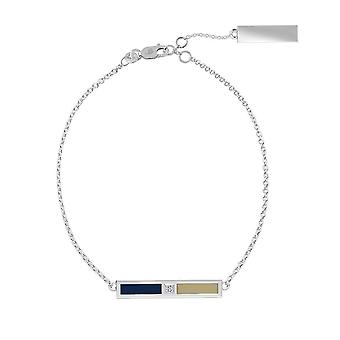 US Naval Academy Sterling Silver Diamond Bar Ketting Armband in blauw en Tan