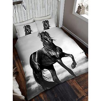 Preto cavalo capa de edredão e fronha Set