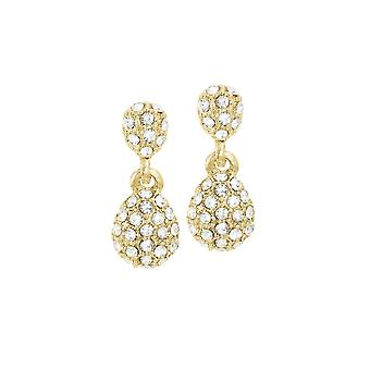Eternal Collection Chorus Clear Crystal Gold Tone Drop Clip On Earrings