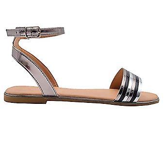 Kulta toe naisten muoti sandaalit metallinen nilkka hihna Flats