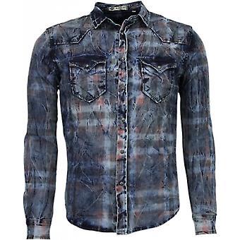 Mangas longas de ajuste fino de jeans - impressão colorida - azul