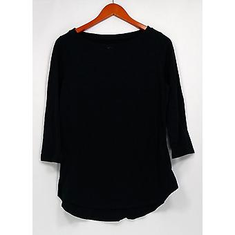 C. wonder top Essentials SLUB Knit tuniek w/gebogen zoom zwart A289718