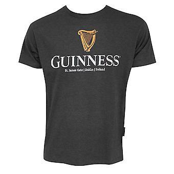Guinness Classic Harp Logo Charcoal Grey Tee Shirt
